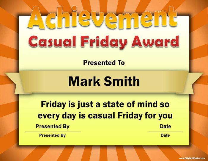 Silly Certificates - Funny Awards For The Office